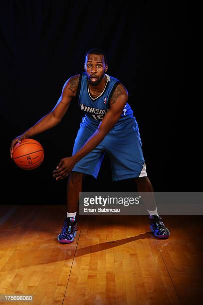 Shabazz Muhammed of the Minnesota Timberwolves poses for a portrait during the 2013 NBA rookie photo shoot on August 6 2013 at the Madison Square...