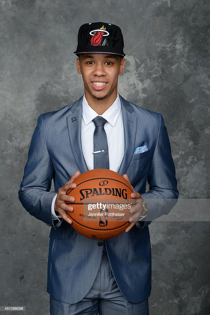 <a gi-track='captionPersonalityLinkClicked' href=/galleries/search?phrase=Shabazz+Napier&family=editorial&specificpeople=7338263 ng-click='$event.stopPropagation()'>Shabazz Napier</a>, aquired by the Miami Heat via trade, poses for a portrait during the 2014 NBA Draft at the Barclays Center on June 26, 2014 in the Brooklyn borough of New York City.