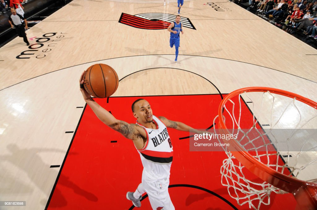 Shabazz Napier #6 of the Portland Trail Blazers drives to the basket against the Dallas Mavericks on January 20, 2018 at the Moda Center in Portland, Oregon.