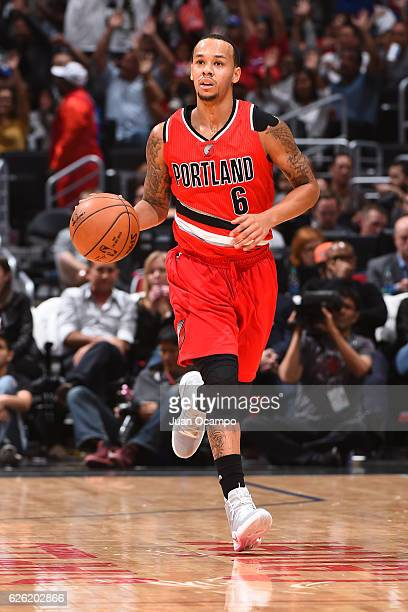 Shabazz Napier of the Portland Trail Blazers handles the ball against the LA Clippers on November 09 2016 at STAPLES Center in Los Angeles California...