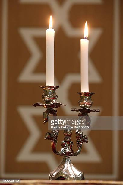 Shabbat candles are lit on Friday evening before sunset to usher in the Jewish Sabbath.