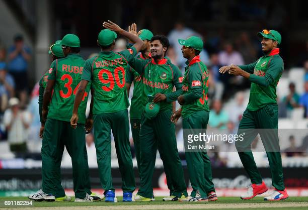 Shabbir Rahman of Bangladesh celebrates after taking the wicket of Alex Hales of England during the ICC Champions Trophy Group A match between...
