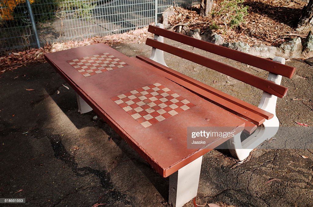 Shabby Concrete Chess Board Table And Bench : Stock Photo