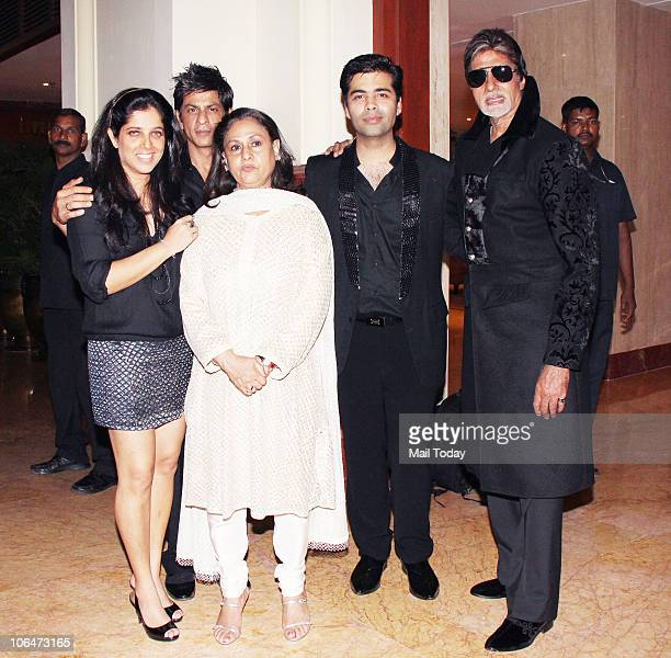 Shabina Khan Karan Johar with Amitabh and Jaya Bachchan and Shah Rukh Khan at designer Shabina Khan's birthday party in Mumbai on November 2 2010