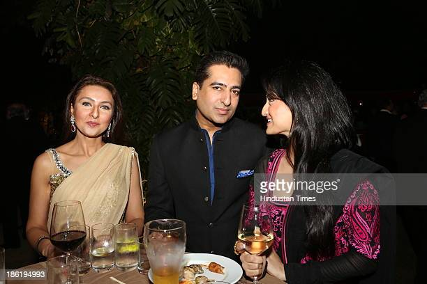 Shabnam Singhal with Rahul Khanna during Spanish Fiesta couture fashion show by Indian fashion designer Ritu Beri at residence of Spanish Ambassador...