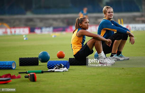 Shabnim Ismail of South Africa and Dane Van Niekerk of South Africa during the Women's ICC World Twenty20 India 2016 Group A match between South...