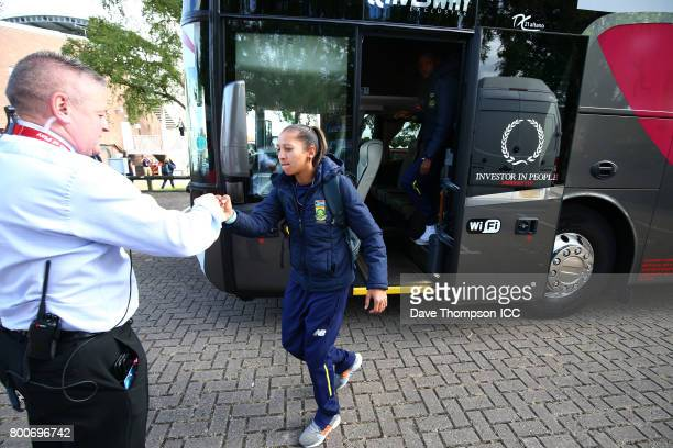 Shabnim Ismail of South Africa arrives at the ground prior to the ICC Women's World Cup match between Pakistan and South Africa at Grace Road on June...