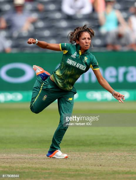 Shabnim Ismail of South Africa bowls during The ICC Women's World Cup 2017 SemiFinal between England and South Africa at The County Ground on July 18...
