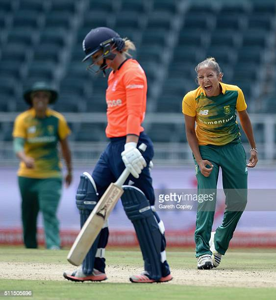 Shabnim Ismail of South Africa celebrates dismissing Danielle Wyatt of England during the 3rd T20 International match between South Africa and...