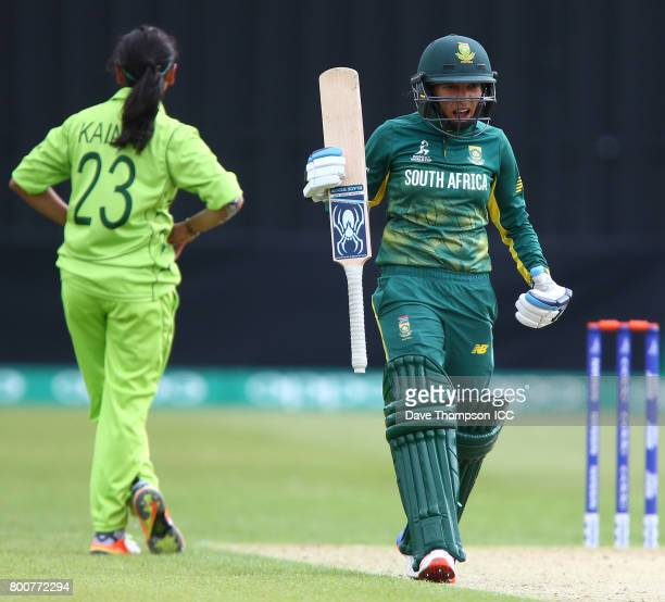 Shabnim Ismail of South Africa celebrates hitting the winning runs off the bowling of Kainat Imtiaz of Pakistan during the ICC Women's World Cup...