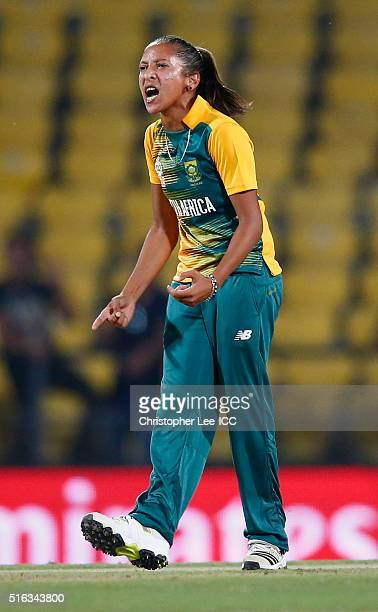Shabnim Ismail of South Africa celebrates taking the wicket of Elyse Villani of Australia during the Women's ICC World Twenty20 India 2016 Group A...