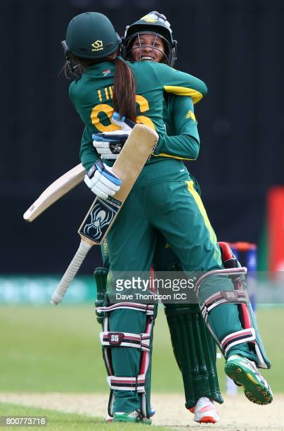 Shabnim Ismail of South Africa celebrates with Sune Luus of South Africa after hitting the winning runs during the ICC Women's World Cup match...
