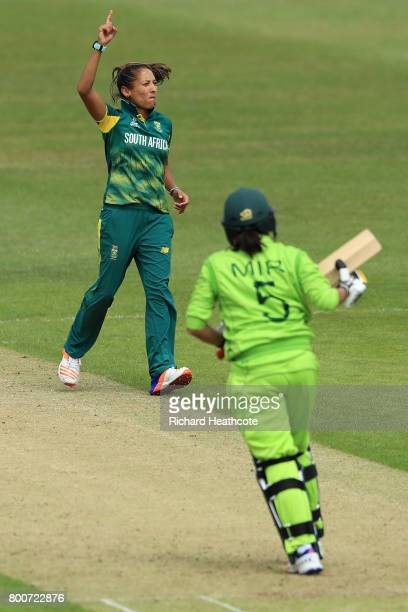 Shabnim Ismail of South Africa claims the wicket of Sana Mir of Pakistan during the ICC Women's World Cup group match between Pakistan and South...