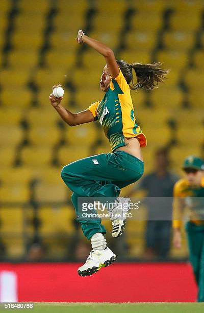 Shabnim Ismail of South Africa in action during the Women's ICC World Twenty20 India 2016 Group A match between Australia and South Africa at the...
