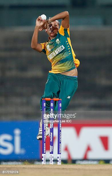Shabnim Ismail of South Africa in action during the Women's ICC World Twenty20 India 2016 Group A match between South Africa and Ireland at the...