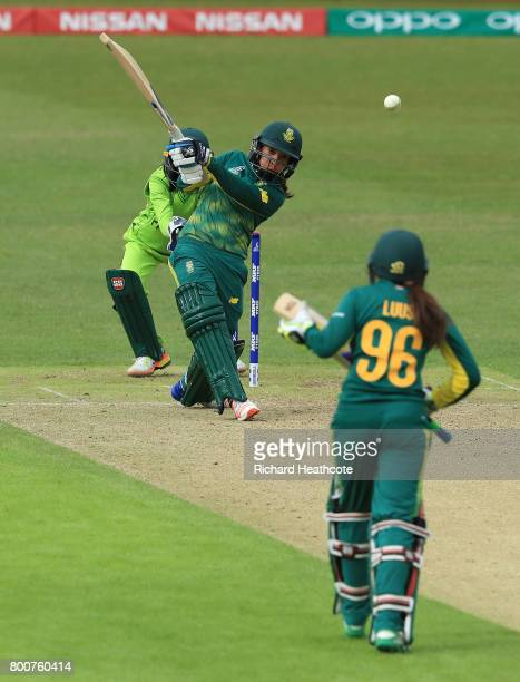 Shabnim Ismail of South Africa smashes the ball down the ground to win the game during the ICC Women's World Cup group match between Pakistan and...