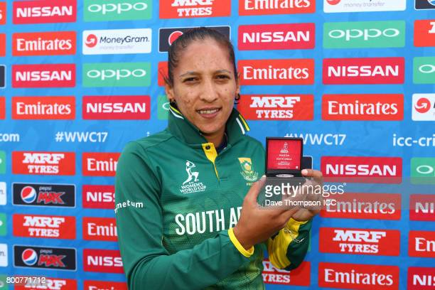 Shabnim Ismail of South Africa with her player of the match award following the ICC Women's World Cup match between Pakistan and South Africa at...
