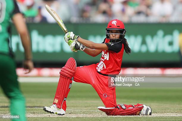 Shabnim Ismail of the Renegades bats during the Women's Big Bash League match between the Melbourne Stars and the Melbourne Renegades at Melbourne...