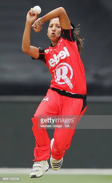 Shabnim Ismail of the Renegades bowls during the Women's Big Bash League match between the Melbourne Stars and the Melbourne Renegades at Melbourne...