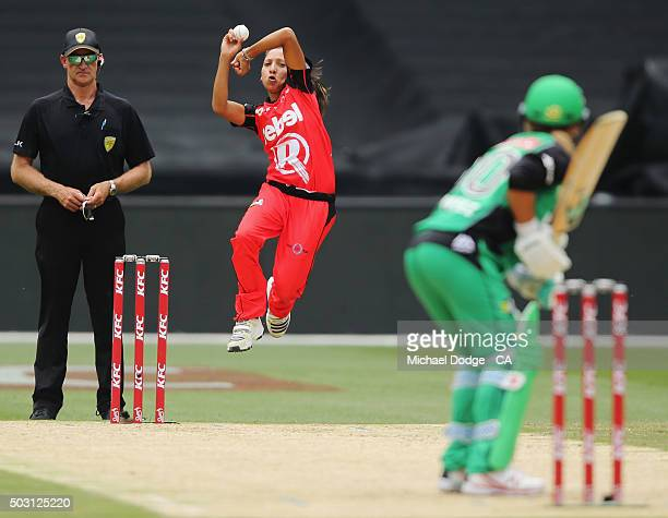 Shabnim Ismail of the Renegades bowls to Mignon du Preez of the Stars during the Women's Big Bash League match between the Melbourne Stars and the...
