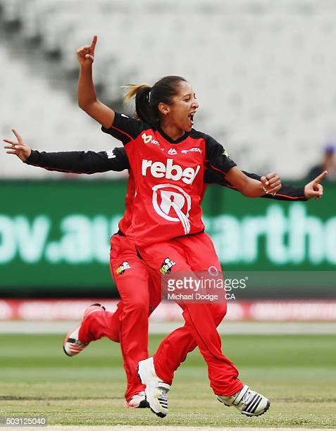 Shabnim Ismail of the Renegades celebrates bowling out Emma Inglis of the Stars during the Women's Big Bash League match between the Melbourne Stars...