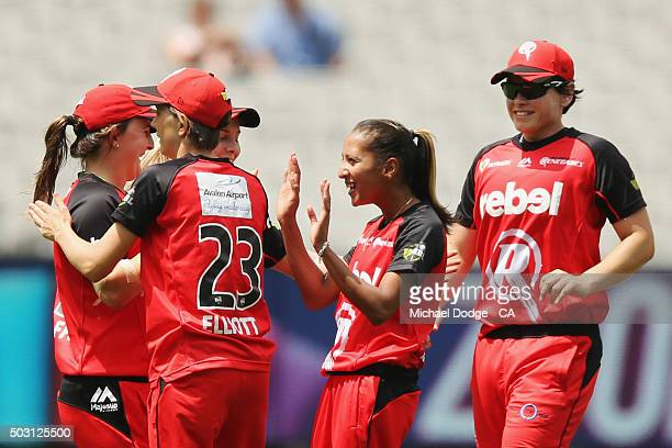 Shabnim Ismail of the Renegades celebrates bowling out Mignon du Preez of the Stars during the Women's Big Bash League match between the Melbourne...