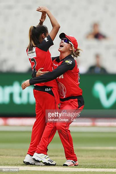 Shabnim Ismail of the Renegades gestures when hoisted up by Danielle Wyatt of the Renegades for bowling Natalie Sciver of the Stars during the...