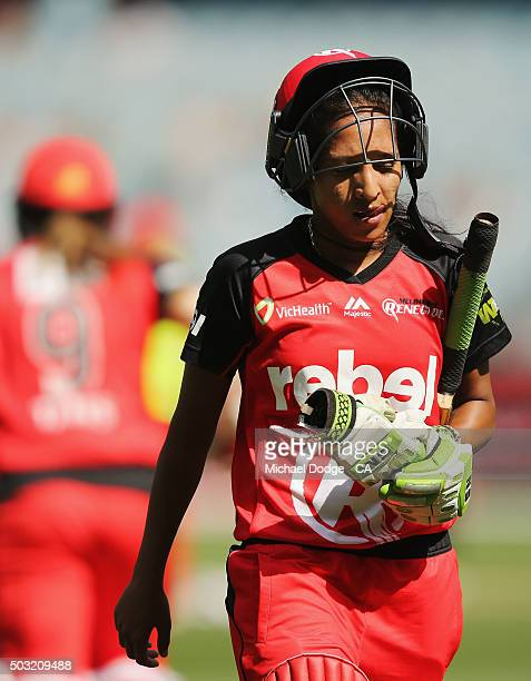 Shabnim Ismail of the Renegades walks off after being dismissed during the Women's Big Bash League match between the Melbourne Stars and the...