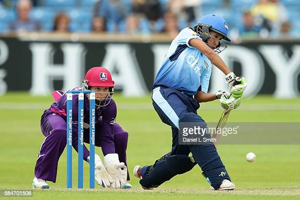 Shabnim Ismail of Yorkshire bats during the inaugural Kia Super League women's cricket match between Yorkshire Diamonds and Loughborough Lightning at...