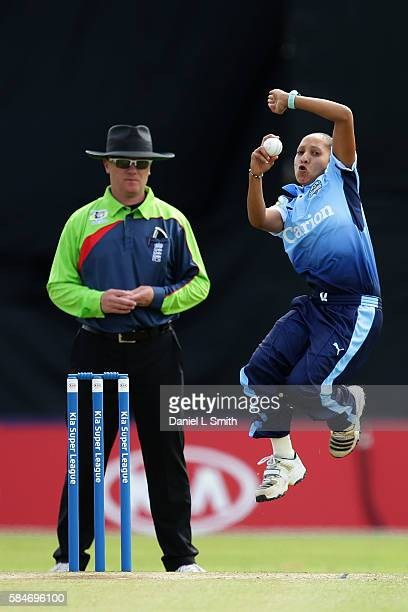 Shabnim Ismail of Yorkshire bowls the first ball of the inaugural Kia Super League women's cricket match between Yorkshire Diamonds and Loughborough...