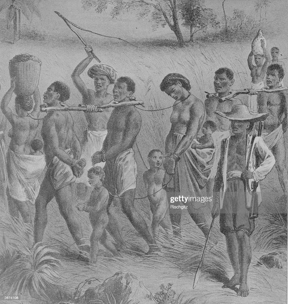 Shackled Africans being taken into slavery, circa 1700.