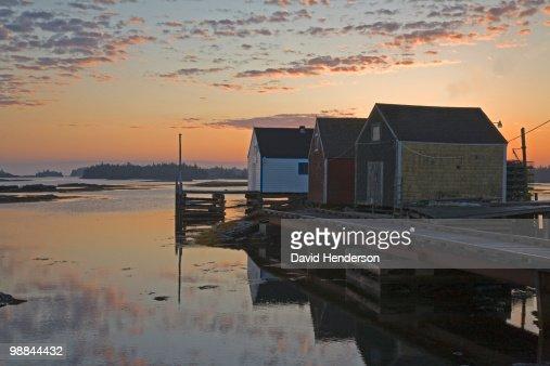 Shacks on pier, Nova Scotia : Stock Photo