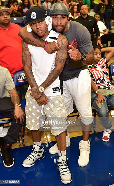 Shad Moss and Omari Hardwick attends the LUDA vs YMCMB celebrity basketball game at Georgia State University Sports Arena on August 31 2014 in...