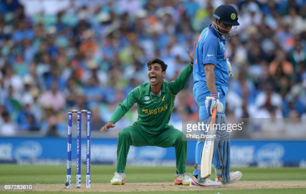 Shadab Khan of Pakistan and dismisses Yuvraj Singh of India lbw during the ICC Champions Trophy final match between India and Pakistan at the Kia...