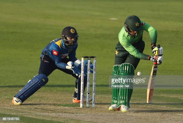 Shadab Khan of Pakistan bats during the second One Day International match between Pakistan and Sri Lanka at Zayed Cricket Stadium on Octobr 16 2017...
