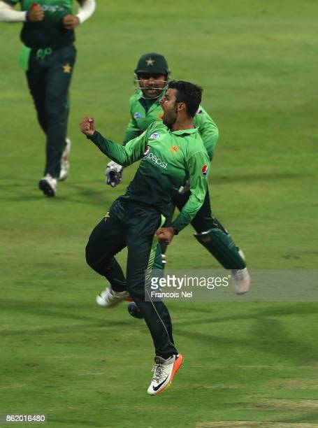 Shadab Khan of Pakistan celebrates after dismissing Milinda Siriwardana of Sri Lanka during the second One Day International match between Pakistan...