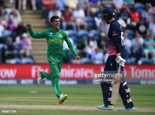 Shadab Khan of Pakistan celebrates dismissing Joe Root of England during the ICC Champions Trophy Semi Final between England and Pakistan at SWALEC...