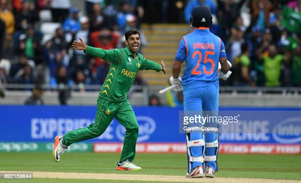 Shadab Khan of Pakistan celebrates dismissing Shikhar Dhawan of India during the ICC Champions Trophy match between India and Pakistan at Edgbaston...