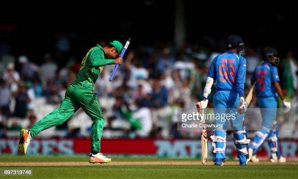 Shadab Khan of Pakistan takes a stump as he celebrates winning the final during the ICC Champions Trophy Final match between India and Pakistan at...