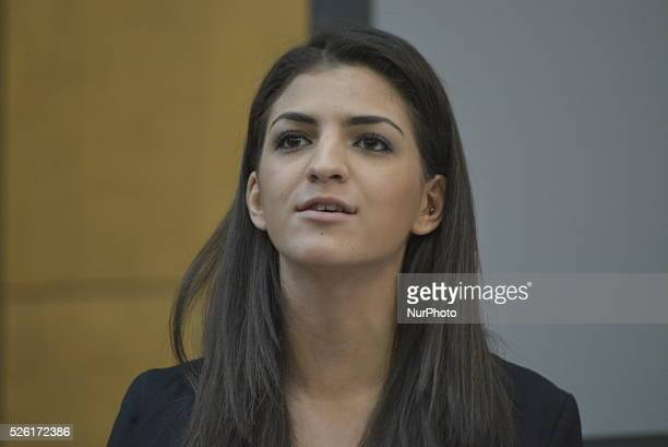 Shadia EdwardsDashti of Stop the War Coalition's National Steering Committee speaking against the Trident nuclear deterrent policy at a public...