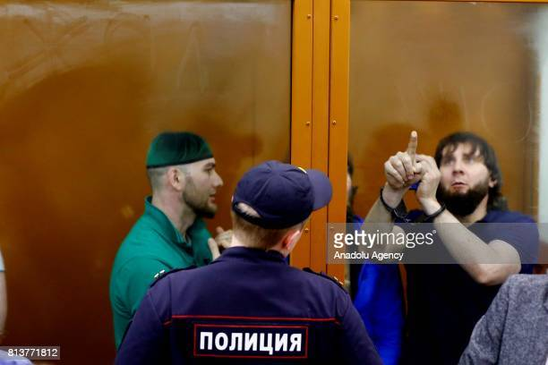 Shadid Gubashev and Zaur Dadayev who are convicted of organizing and carrying out the contract killing of opposition leader Boris Nemtsov stand...