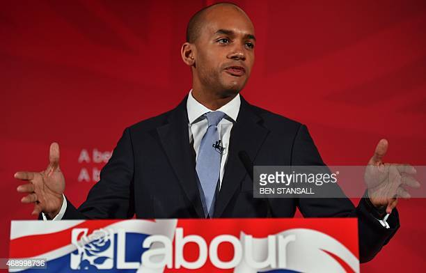 Shadow business secretary and the Labour Party's prospective parliamentary candidate for Streatham Chuka Umunna speaks at the launch of the Labour...