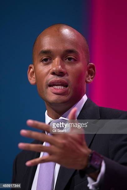 Shadow Business Secretary Chuka Umunna delivers a speech to delegates on day two of the Labour Party Conference on September 22 2014 in Manchester...