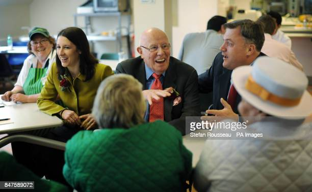 Shadow Chancellor Ed Balls actor and Labour supporter Richard Wilson and shadow chief secretary to the treasury Rachel Reeves as they meet staff and...