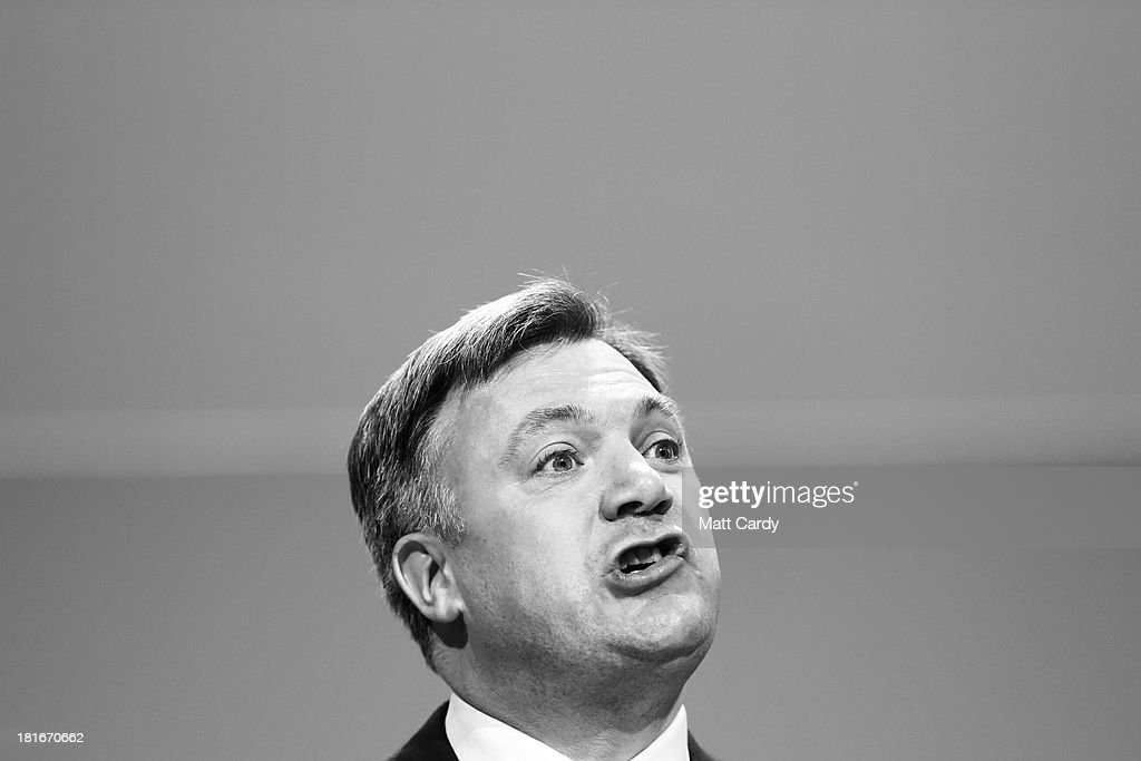 Shadow Chancellor <a gi-track='captionPersonalityLinkClicked' href=/galleries/search?phrase=Ed+Balls&family=editorial&specificpeople=3244683 ng-click='$event.stopPropagation()'>Ed Balls</a> addresses the Labour Party conference on September 23, 2013 in Brighton, England. The opposition Labour Party are holding their annual conference in the southern English coastal town for the next four days.