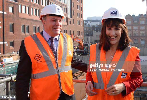 Shadow Chancellor Ed Balls and Shadow Chief Secretary to the Treasury Rachel Reeves visit the Bond Street site of the Crossrail project on the...