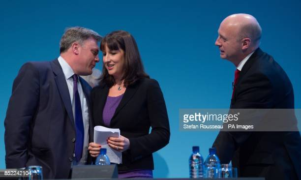Shadow chancellor Ed Balls congratulates Shadow Chief Secretary to the Treasury Rachel Reeves on making her keynote address to the Labour Party...