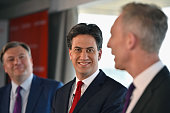 Shadow Chancellor Ed Balls Labour Leader Ed Miliband and Scottish Labour Leader Jim Murphy hold a joint press conference on April 10 2015 in...