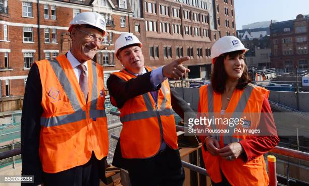 Shadow Chancellor Ed Balls Shadow Chief Secretary to the Treasury Rachel Reeves and Sir John Armitt visit the Bond Street site of the Crossrail...