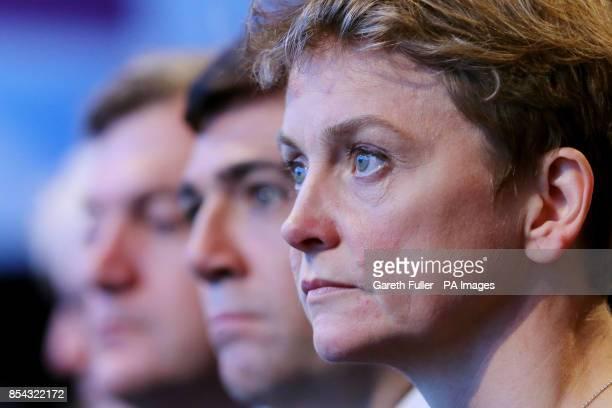 Shadow chancellor Ed Balls shadow health secretary Andy Burnham and shadow Home secretary Yvette Cooper listen to the speech of Harriet Harman at the...